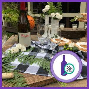 Table decor and a bottle of wine with two glasses