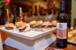 Hamburger sliders served as appetizers for wine tasting party