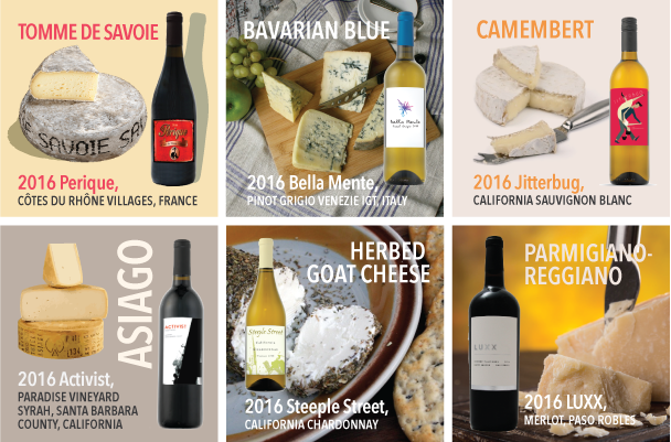 wine and cheese pairings from traveling vineyard