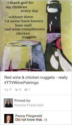 red wine and chicken nuggets