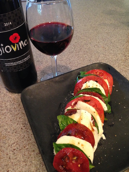 Caprese salad paired with Traveling Vineyard's Giovina Montepulciano d'Abruzzo