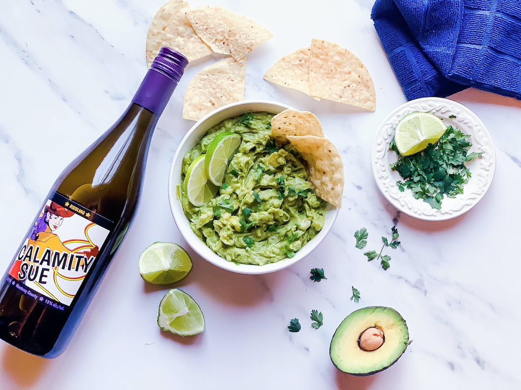calamity sue riesling paired with guacamole