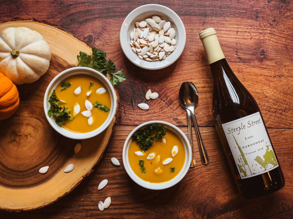 2018 Steeple Street Chardonnay paired with squash soup.