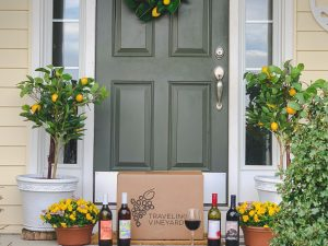 Rewined wine subscription box on the front porch