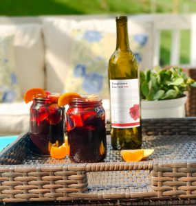 Tanglerose Front Porch red blend by Traveling Vineyard turned into sangria